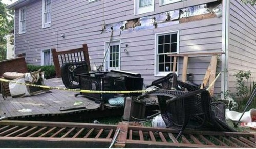 collapsed, fallen deck image