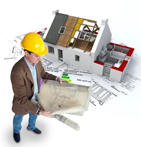 architect looks at plans for building with better energy efficiency in mind