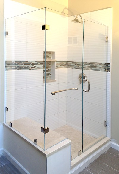 "Allstate Glass low-iron ""Ultra-Clear"" glass shower enclosure"