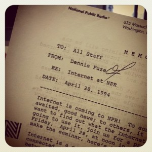 April 28, 1994 NPR Memo - the internet is coming