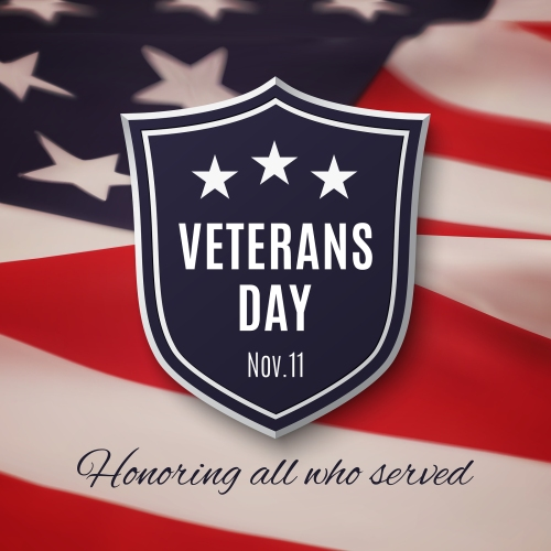 Veterans day background. Shield on American flag. Vector illustration.